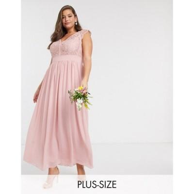 ティエフエヌシー レディース ワンピース トップス TFNC Bridesmaid Plus lace plunge maxi dress with scaloped back