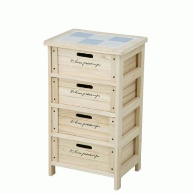 木製4段ボックス ナチュラル 完成品 HF05-003(N) 不二貿易 68094