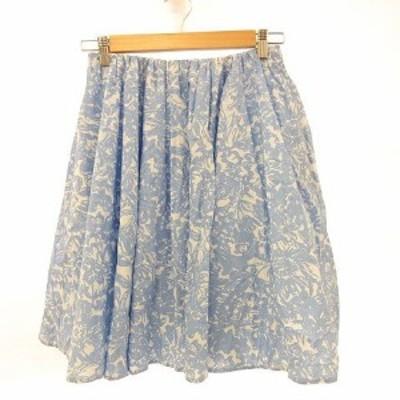 【中古】マカフィー MACPHEE トゥモローランド スカート ひざ丈 花柄 フレア 水色 白 36 *A469 レディース