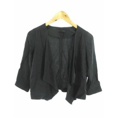 【中古】クルーンアソング CROON A SONG ジャケット ショート 七分袖 36 黒 ブラック /SU29 レディース