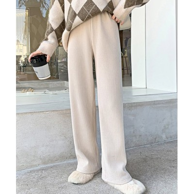【ドゥーベル】 レディースファッション通販 ボトムス 長ズボン ワイドパンツ レディース ガウチョパンツ 無地 春 ウェストゴム フリーサイズ 楽ちん ストライプ 穿きやすい レディース オレンジ F Doux Belle