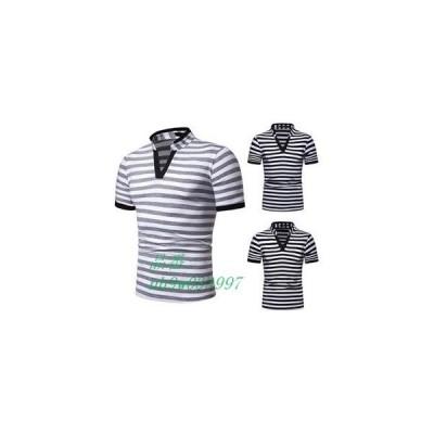 ポロシャツ Tシャツ tシャツ メンズTシャツ ゆったり カジュアル 半袖tシャツ Vネック 夏Tシャツ 夏服 新作 おしゃれ 2019 メンズ 半袖 ボーダー柄 夏物