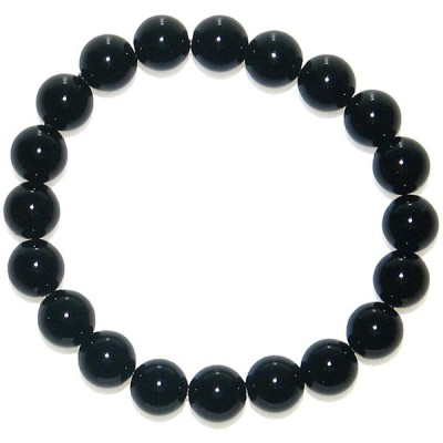 神戸宝光堂 チベット産 黒水晶 (カーンゴーム/モリオン) 10mm ブレスレット (内径18cm 男性:M/女性:L)