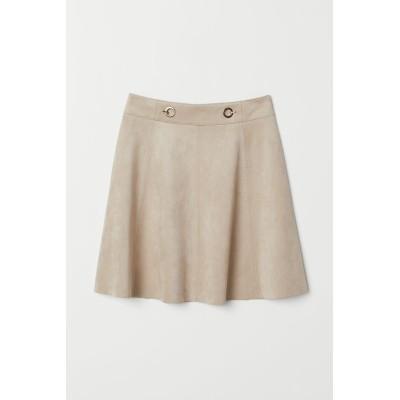 H&M - フェイクスエードショートスカート - ブラウン