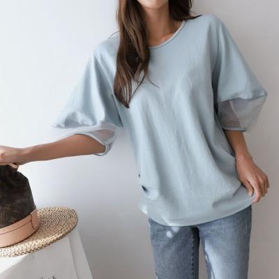 ふっくら袖Tシャツ   チュール   カットソー  トップス