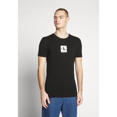 カルバンクライン メンズ Tシャツ トップス CENTER MONOGRAM BOX SLIM TEE - Print T-shirt - black black