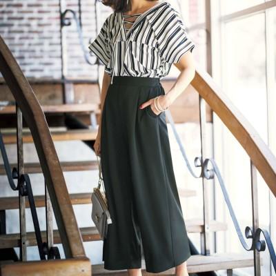 ジーラ GeeRA ひんやり涼しいカットジョーゼット素材パンツ (オフ系ストライプ×ブラック)