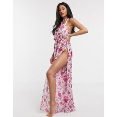 エイソス レディース ワンピース トップス ASOS DESIGN wide leg twist neck beach jumpsuit in graphic stripe floral print Graphic st