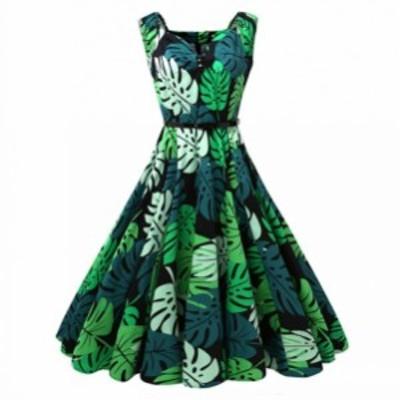ワンピース スイングワンピース 葉柄 ドレス Vネック 20年代30年代40年代50年代 お呼ばれ 結婚式 グリーン Aライン