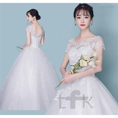 ウエディングドレスaライン白袖ありレースウェディングドレス花嫁結婚式パーティードレス二次会ブライダルマタニティハイウエスト