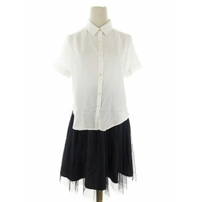 【中古】ソフィー sophy ワンピース ドッキング シャツ 半袖 ひざ丈 チュール M 白 ホワイト /AAM13 レディース
