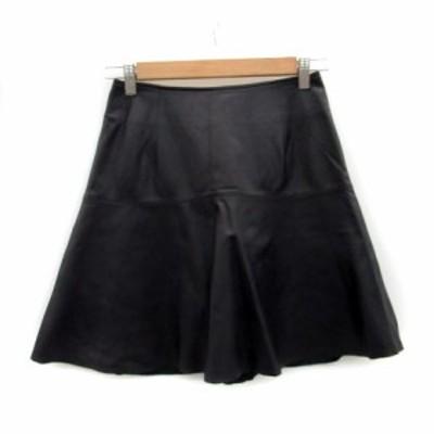 【中古】ビアッジョブルー Viaggio Blu スカート フレア ミニ丈 ラムレザー 1 ブラック 黒 /MS9 レディース