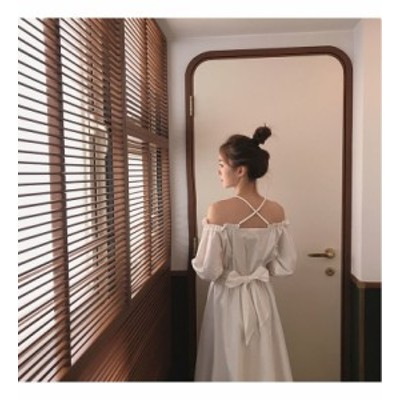 ドレス フリル オフショルダー コットン リボン 爽やか ロマンティック