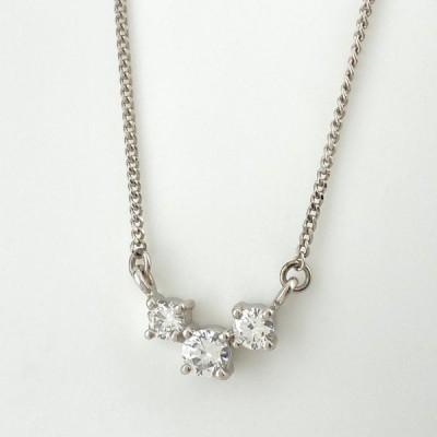 メレダイヤ デザインネックレス プラチナ ペンダント ネックレス Pt850 ダイヤモンド レディース 中古