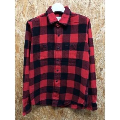 GAP ギャップ XSサイズ メンズ シャツ 起毛系 シェパードチェック 両胸ポケット 長袖 綿100% レッド×ブラック 赤×黒