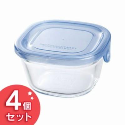 Iwaki NEWパック&レンジ 200ml(4個セット) アクアブルー KBT3200BLN 食品保存容器 収納 透明 電子