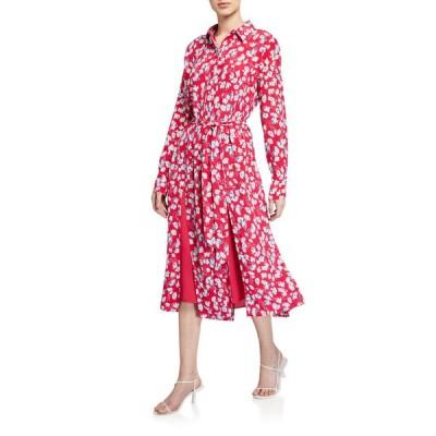 エキプモン レディース ワンピース トップス Ria Floral Long-Sleeve Belted Midi Dress