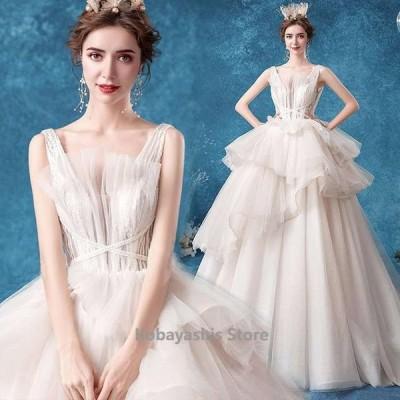 ウェディングドレスノースリーブチュール結婚式ドレスフレアフリルお洒落豪華花嫁ドレスブライダルドレス背開き二次会披露宴