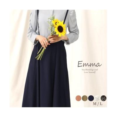 (emma/エマ)柔らかな素材で女性らしい優しいシルエットのサロペットスカート/レディース ネイビー