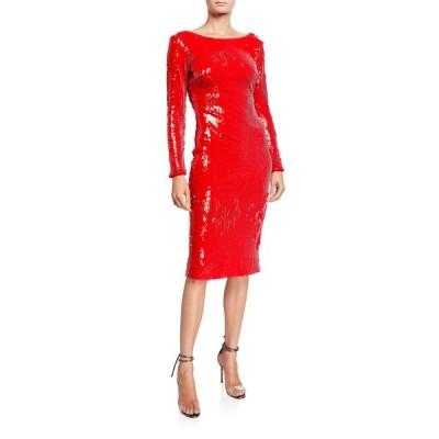 ドレスザポプレーション レディース ワンピース トップス Emery Sequin Long-Sleeve Sheath Dress