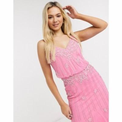 レース アンド ビーズ Lace and Beads レディース ワンピース マキシ丈 ワンピース・ドレス Embellished Maxi Dress ピンク
