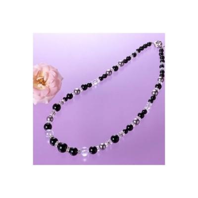ナノ真珠オニキスおしゃれネックレス 貴女の胸元を華やかに演出 貝パール認定書付き