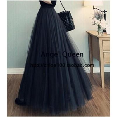 春夏チュールスカート レディース 3重チュール ロング丈スカート 3色 美しいAラインボンボンドレス 80cm¥/90cm¥/100cm