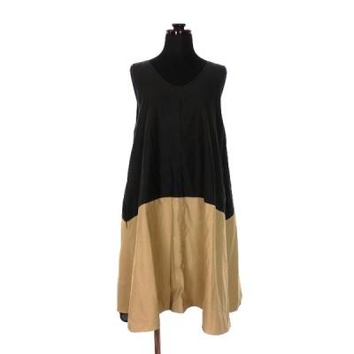 【中古】プティローブノアー petite robe noire バイカラー Aラインワンピース チュニック ノースリーブ ブラック/ベージュ PRO-14SC20 春夏 レディース