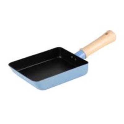 玉子焼き器 IH対応 13×18cm ぷちキット 木ハンドル ブルー ( ガス火対応 卵焼き器 エッグパン アルミフライパン オール熱源対応 フッ素樹脂加工 金属ヘラOK コンパクト いため鍋 調理器具 調理用品 )