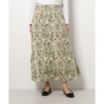 スカート ぼかし柄フレアロングスカート