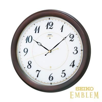 おしゃれな掛け時計セイコーエムブレムシックな木製電波HS547B プレート文字刻印可能