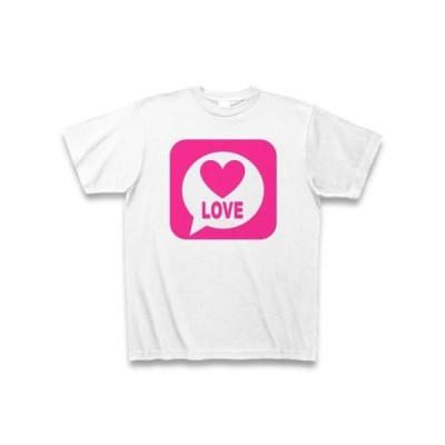 LINE風LOVE(ピンク) Tシャツ(ホワイト)