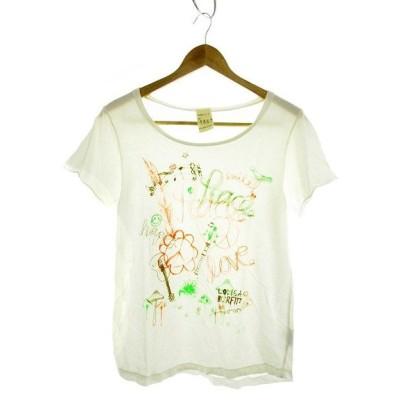 【中古】バーフィット BURFITT Tシャツ カットソー 半袖 プリント S 白 ホワイト /MK レディース 【ベクトル 古着】