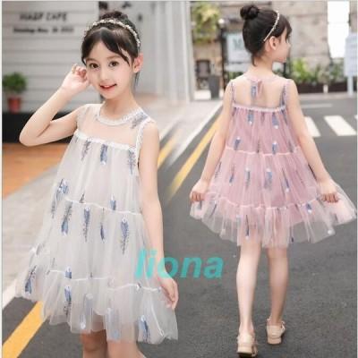韓国子供服 ロングワンピース リゾートワンピース フォーマルワンピース 女の子 レースワンピース  子ども ロングワン