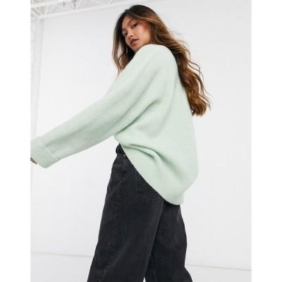 アンドアザーストーリーズ レディース ニット&セーター アウター & Other Stories wool oversize v-neck sweater in green Blueish gray green
