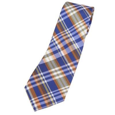 (フェアファクス) FAIRFAX マドラスチェック ネクタイ ブルー シルク100% 日本製 プレッピー
