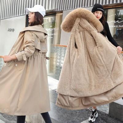 レディース ジャケット コート ロング 中綿 ファーフード付き