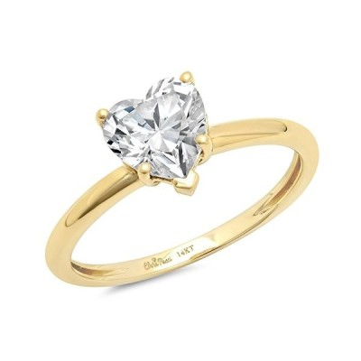0.95ct Brilliant Heart Cut Solitaire Highest Quality Moissanite Ideal D 5-Prong Statement Ring in Solid Real 14k Yellow Gold for Women, Size 3.5【並