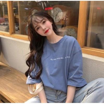 韓国 ファッション レディース Tシャツ カットソー トップス ロゴ ビッグシルエット 五分袖 ゆったり カジュアル シンプル 大人可愛い 春