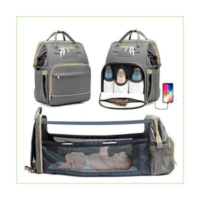 KOVEBBLE Diaper Bag Backpack with Changing Station, Foldable Baby Diaper Bag for Baby, Boy, GILR, Mom, Dad, Mommy Bag with USB Charging Port
