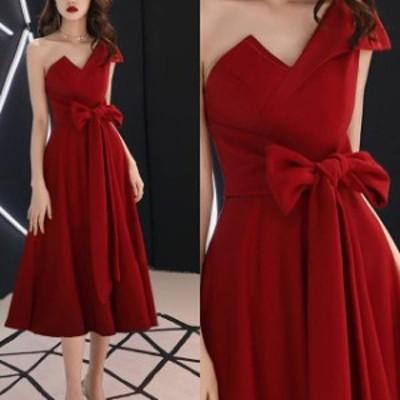 パーティードレス ワンピース お呼ばれ ウエストリボン 結婚式 二次会 ワンショルダー お呼ばれドレス ドレス 20代 30代 40代