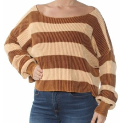 Free People フリーピープル ファッション トップス Free People Womens Brown Size Large L Pullover Just My Stripe Sweater