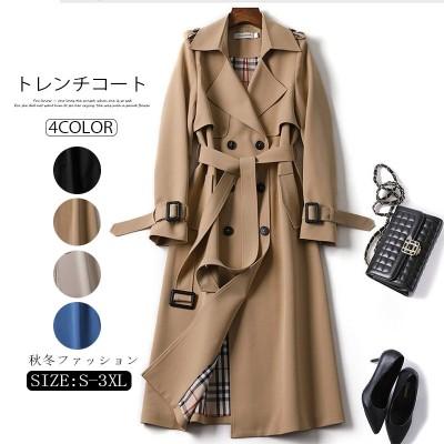 2021年初秋の新しい韓国のファッションと人気のロングコートのウインドブレーカーレディースミドル丈コート