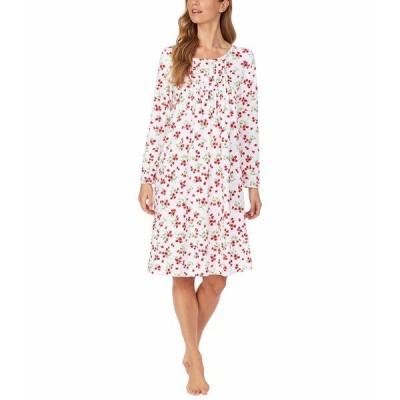 カロールホクマン ナイトウェア アンダーウェア レディース Baby Fleece Waltz Long Sleeve Gown White/Red Floral