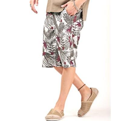 【ラグスタイル】 ボタニカル柄ワッフルショートパンツ/ショートパンツ メンズ ハーフパンツ ワッフル ボタニカル柄 メンズ ホワイト L LUXSTYLE