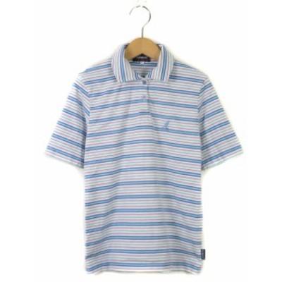 【中古】カンゴール KANGOL ポロシャツ ボーダー ロゴ 刺繍 半袖 L 青 ブルー レディース