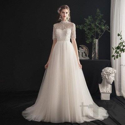 ウェディングドレス ウェディングドレス白 パーティードレス トレーン 花嫁ロングドレス 結婚式 露背 ビーズ 二次会 エレガント レース お呼ばれ 挙式