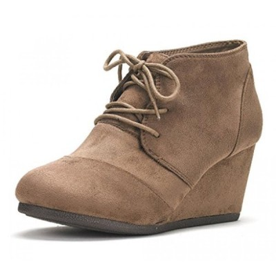 ドリームペア レディース ブーツ DREAM PAIRS Women's Fashion Casual Outdoor Low Wedge Heel Booties Shoes