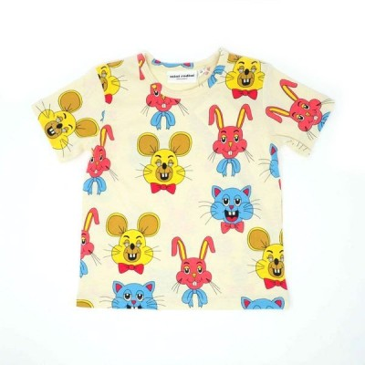 mini rodini ミニロディーニ Tシャツ TIVOLITOY AOP SS TEE ピンク アニマル柄 メール便対応