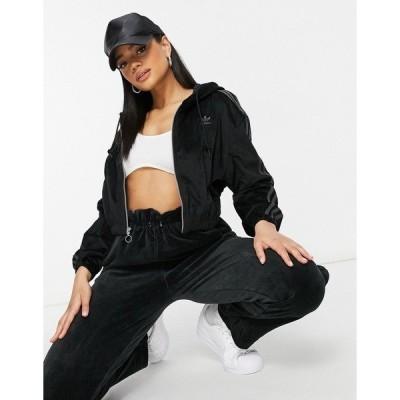 アディダス レディース ジャケット&ブルゾン アウター adidas hooded track jacket in black Black